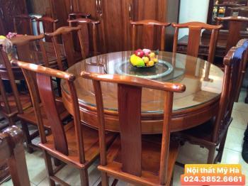 Bộ bàn ăn tròn gỗ hương