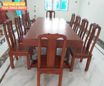 Bộ bàn ăn chữ nhật gỗ hương