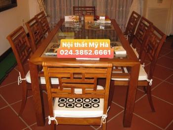 Bộ bàn ăn chữ nhật mặt kính