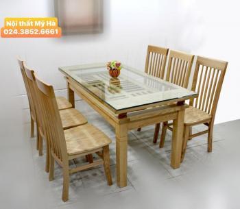Bộ bàn ăn chữ nhật gỗ xoan đào