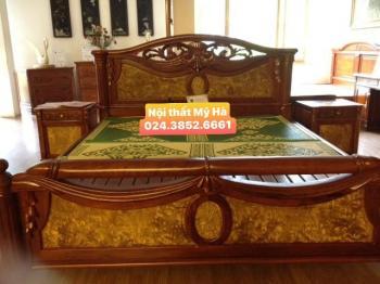 Giường gỗ hương + gỗ nu