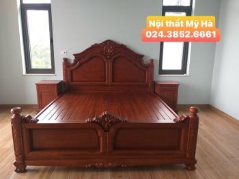Giường HLT chương cao gỗ hương