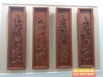 Bộ tranh tứ quý gỗ hương chạm