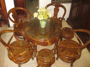 Bộ bàn tròn gỗ nu